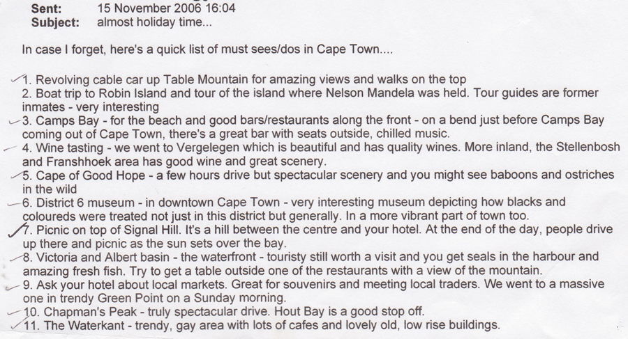 A list of what to do in Cape Town