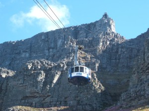 Cable car climbing to Table Mountain